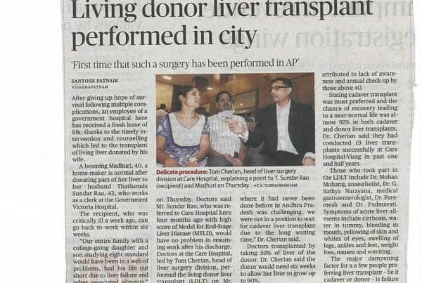 Living Donor Liver Transplant Performed In City