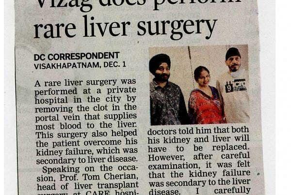 Vizag Docs Perform Rare Liver Surgery